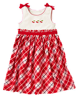 Cherry Bow Plaid Sundress