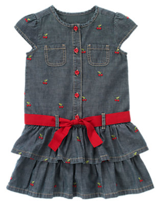 Girls Chambray Cherry Cherry Embroidered Chambray Dress by Gymboree