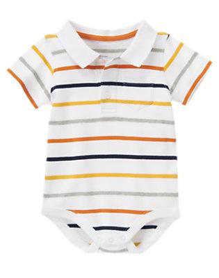 White Stripe Polo Stripe Bodysuit by Gymboree