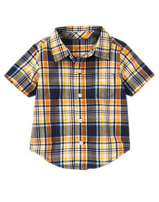 Lion Orange Plaid Plaid Shirt by Gymboree