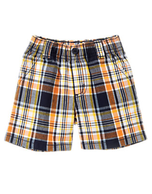 Lion Orange Plaid Plaid Short by Gymboree