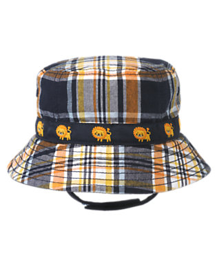 Lion Orange Plaid Plaid Bucket Hat by Gymboree