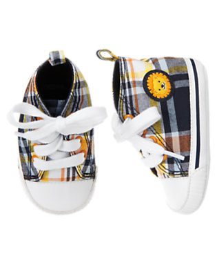 Lion Orange Plaid Plaid Crib Sneaker by Gymboree
