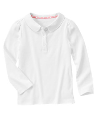 Girls White Uniform Long Sleeve Polo Shirt by Gymboree
