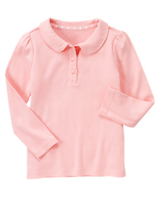 Girls Marshmallow Pink Uniform Long Sleeve Polo Shirt by Gymboree