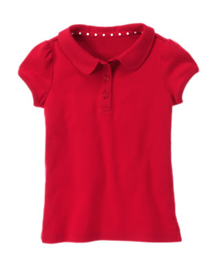 Girls Cherry Red Uniform Polo Shirt by Gymboree