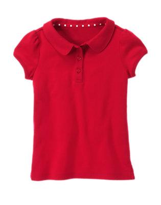 Girls Cherry Red Uniform Polo Shirt by Gymboree