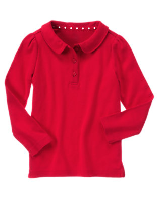 Girls Cherry Red Uniform Long Sleeve Polo Shirt by Gymboree