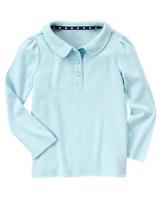 Girls Blue Uniform Long Sleeve Polo Shirt by Gymboree