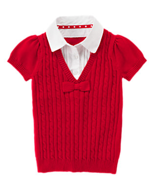 Girls Cherry Red Uniform Inset Shirt Sweater by Gymboree