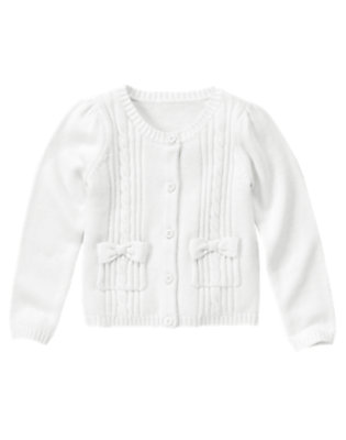 Girls White Uniform Cable Pocket Cardigan by Gymboree