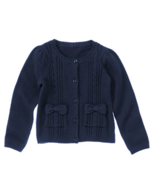 Girls Navy Uniform Cable Pocket Cardigan by Gymboree