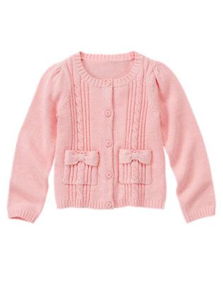 Girls Marshmallow Pink Uniform Cable Pocket Cardigan by Gymboree