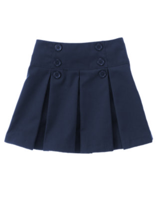 Girls Navy Uniform Pleated Skort by Gymboree