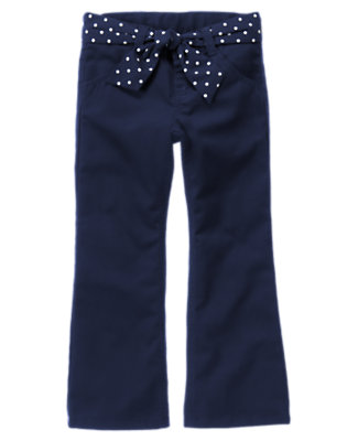 Girls Navy Uniform Belted Bootcut Pant by Gymboree