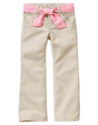 Girls Light Khaki Uniform Belted Bootcut Pant by Gymboree