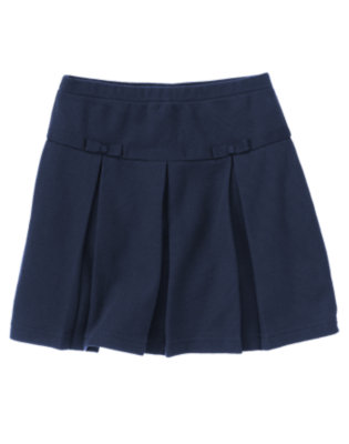 Girls Navy Uniform Pleated Pique Skort by Gymboree
