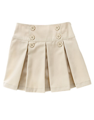 Girls Light Khaki Uniform Pleated Skort by Gymboree