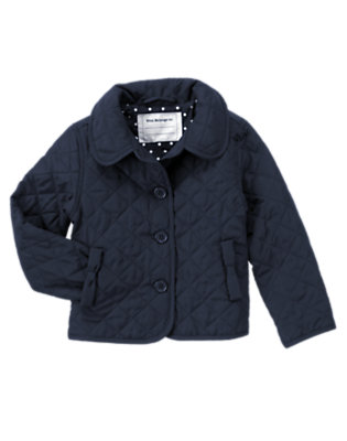 Girls Navy Uniform Quilted Barn Jacket by Gymboree
