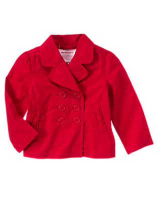 Girls Cherry Red Uniform Trench Coat by Gymboree