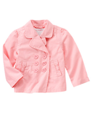 Girls Marshmallow Pink Uniform Trench Coat by Gymboree