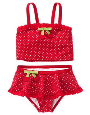 Girls Cherry Red Mini Dot Cherry Bow Two-Piece Swimsuit by Gymboree