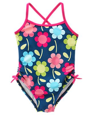 Girls Blue Flower Bow Floral One-Piece Swimsuit by Gymboree