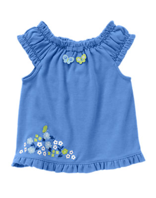 Butterfly Blue Ruffle Butterfly Floral Top by Gymboree