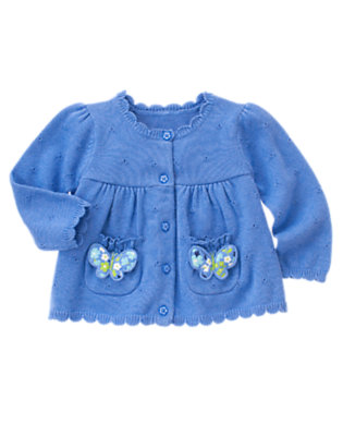 Butterfly Blue Butterfly Pocket Sweater Cardigan by Gymboree