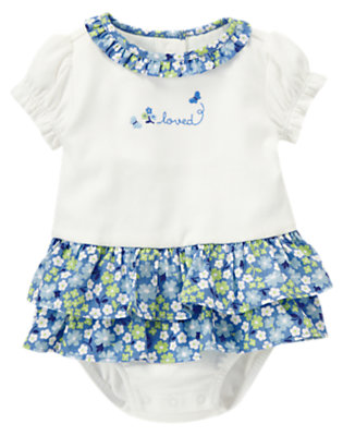 White Loved Flower Skirted One-Piece by Gymboree