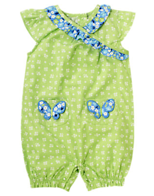 Sweet Pea Green Floral Butterfly Pocket Floral One-Piece by Gymboree