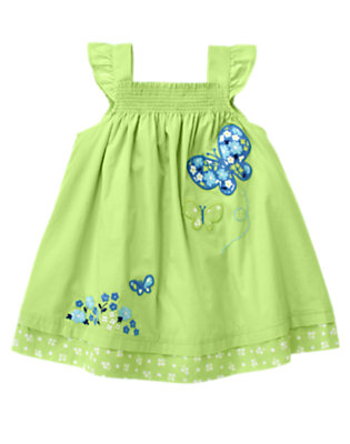Baby Sweet Pea Green Smocked Butterfly Sundress by Gymboree