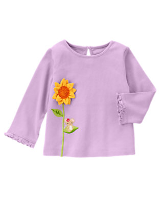 Violet Purple Little Mouse Sunflower Long Sleeve Tee by Gymboree
