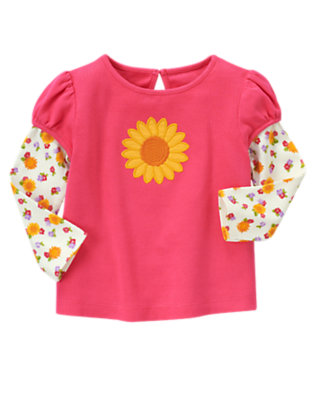 Pretty Pink Sunflower Double Sleeve Tee by Gymboree
