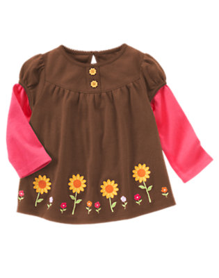 Chocolate Brown Sunflower Double Sleeve Swing Top by Gymboree