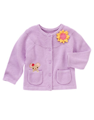 Toddler Girls Violet Purple Mouse Sunflower Corsage Cardigan by Gymboree