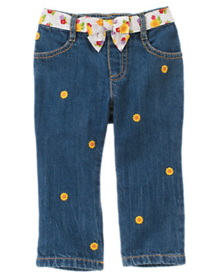 Denim Sunflower Sash Jean by Gymboree