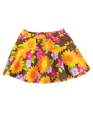 Toddler Girls Chocolate Brown Sunflower Sunflower Corduroy Skort by Gymboree