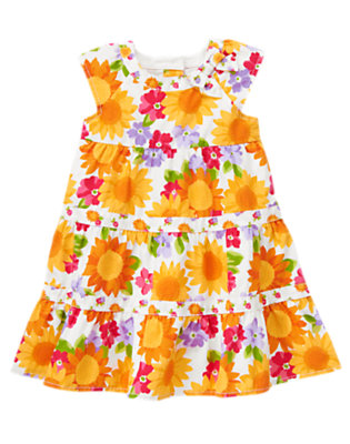 Toddler Girls Ivory Sunflower Blossom Sunflower Mixed Print Dress by Gymboree