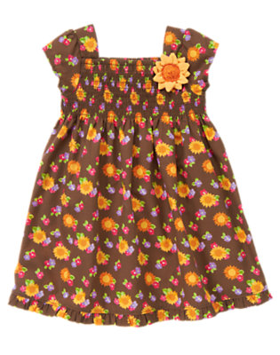 Chocolate Brown Blossom Sunflower Corsage Dress by Gymboree