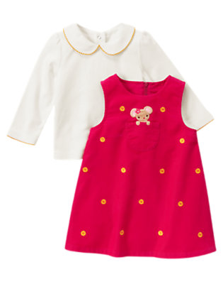 Fuchsia Pink Mouse Corduroy Jumper Two-Piece Set by Gymboree