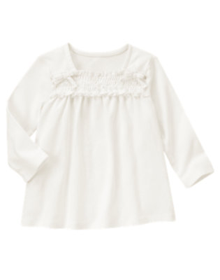 Ivory Smocked Long Sleeve Top by Gymboree