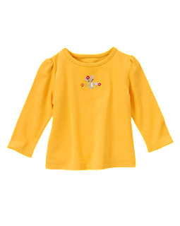 Embroidered Flower Mouse Long Sleeve Tee