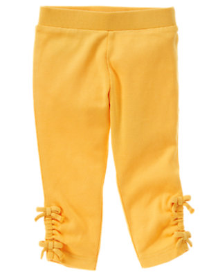Toddler Girls Sunflower Yellow Bow Ruched Cuff Legging by Gymboree