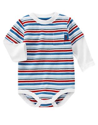 Airy Blue Stripe Stripe Double Sleeve Bodysuit by Gymboree