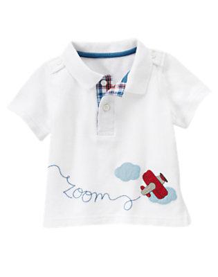 White Plane Zoom Polo Shirt by Gymboree