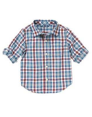 Airy Blue Plaid Plaid Shirt by Gymboree