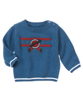 Baby Zoom Blue Plane Sweater by Gymboree