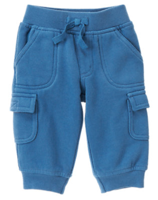 Baby Zoom Blue Plane Zoom Cargo Knit Pant by Gymboree