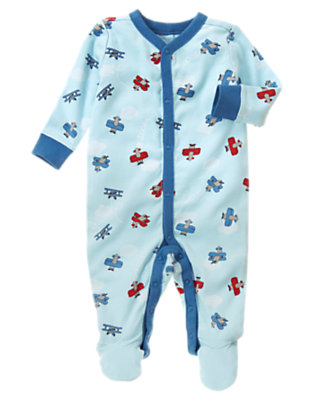 Airy Blue Plane Zoom Footed One-Piece by Gymboree
